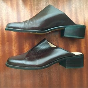 Enzo Angiolini Shoes - 💥SOLD Choc. Brown Leather Slides Mules Clogs